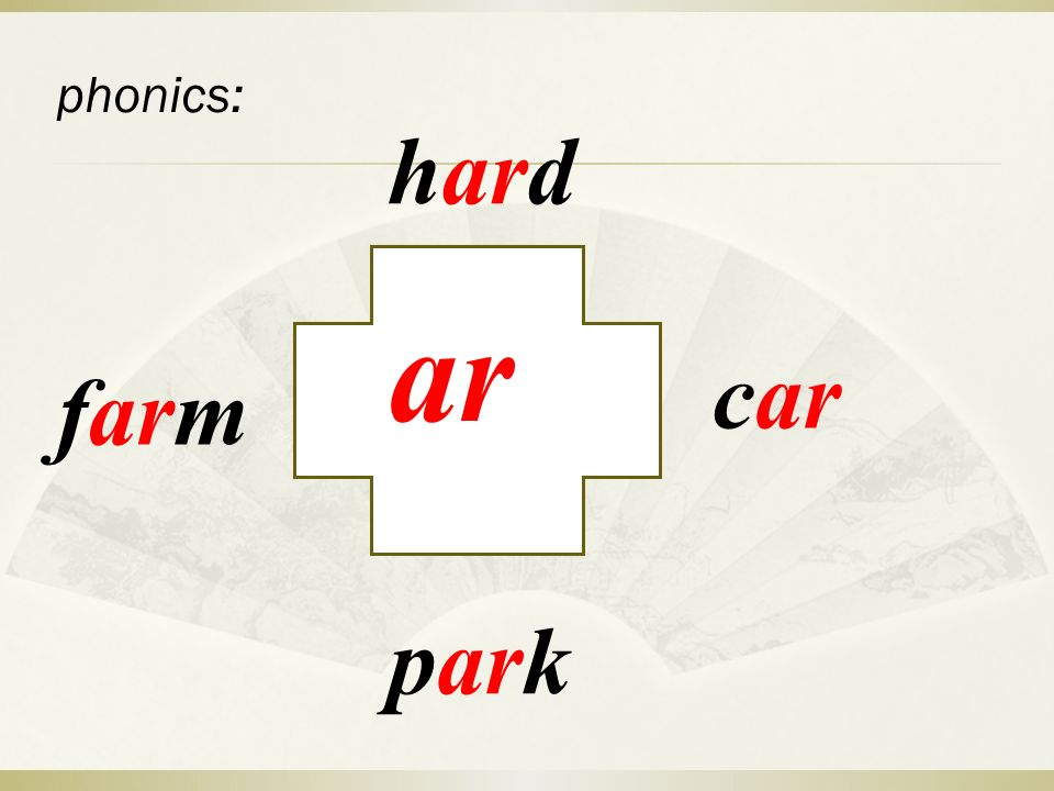 phonics: ar hard car park farm