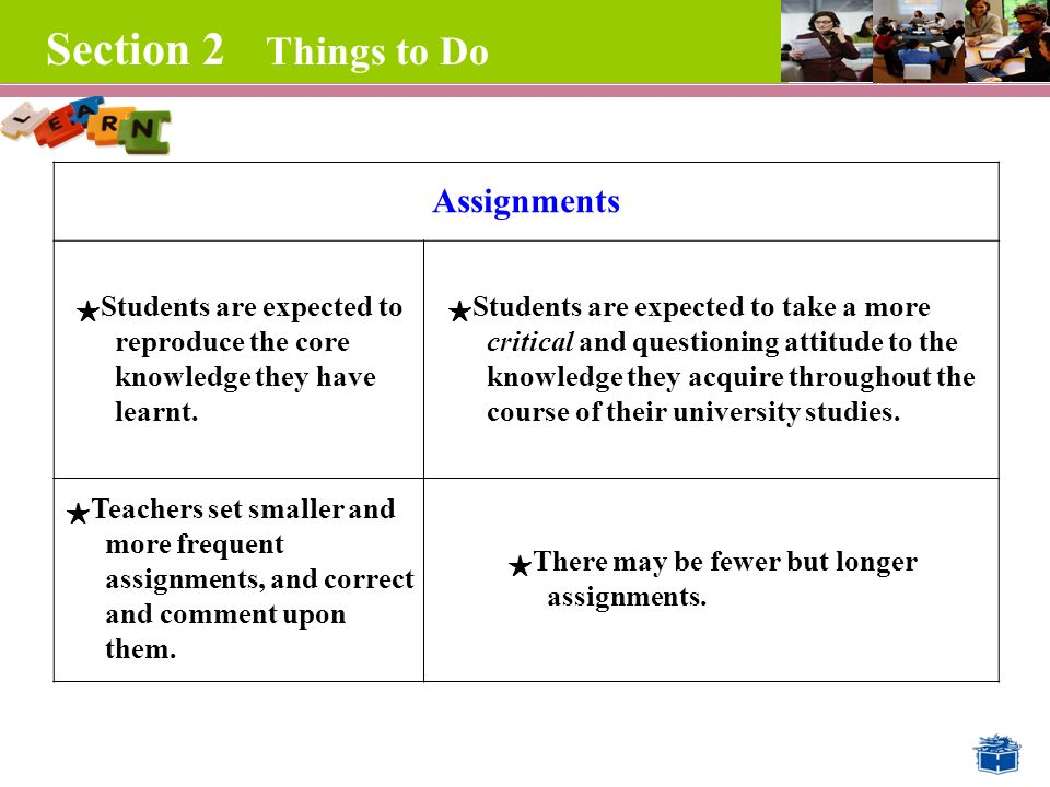 Section 2 Things to Do Assignments ★ Students are expected to reproduce the core knowledge they have learnt.