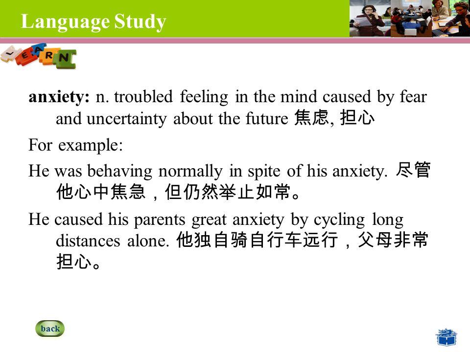 Language Study anxiety: n.