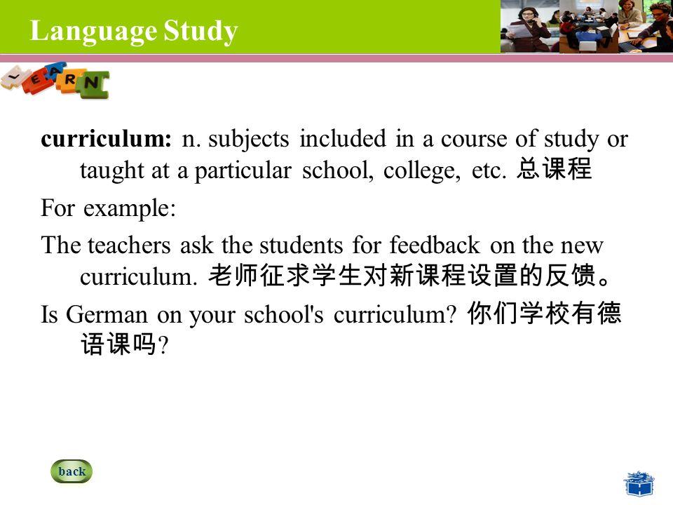 Language Study curriculum: n.