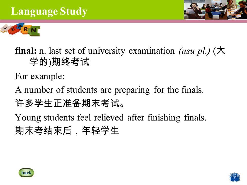 Language Study final: n.