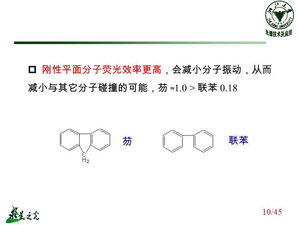  刚性平面分子荧光效率更高,会减小分子振动,从而 减小与其它分子碰撞的可能,芴 ≈ 1.0 > 联苯 0.18 芴 联苯 10/45