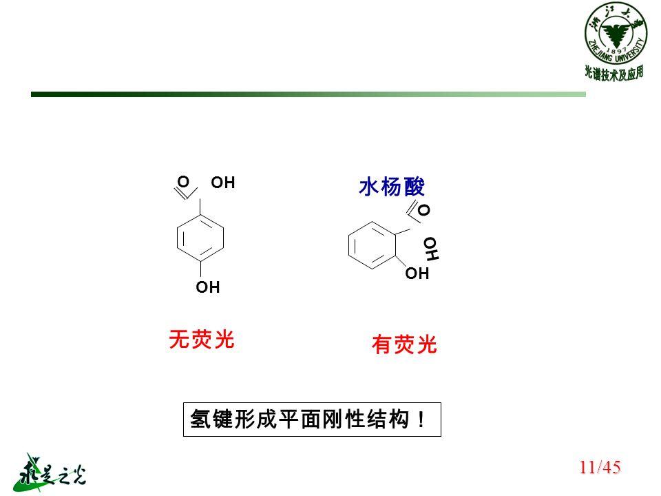 无荧光 水杨酸 有荧光 氢键形成平面刚性结构! 11/45 OH O O