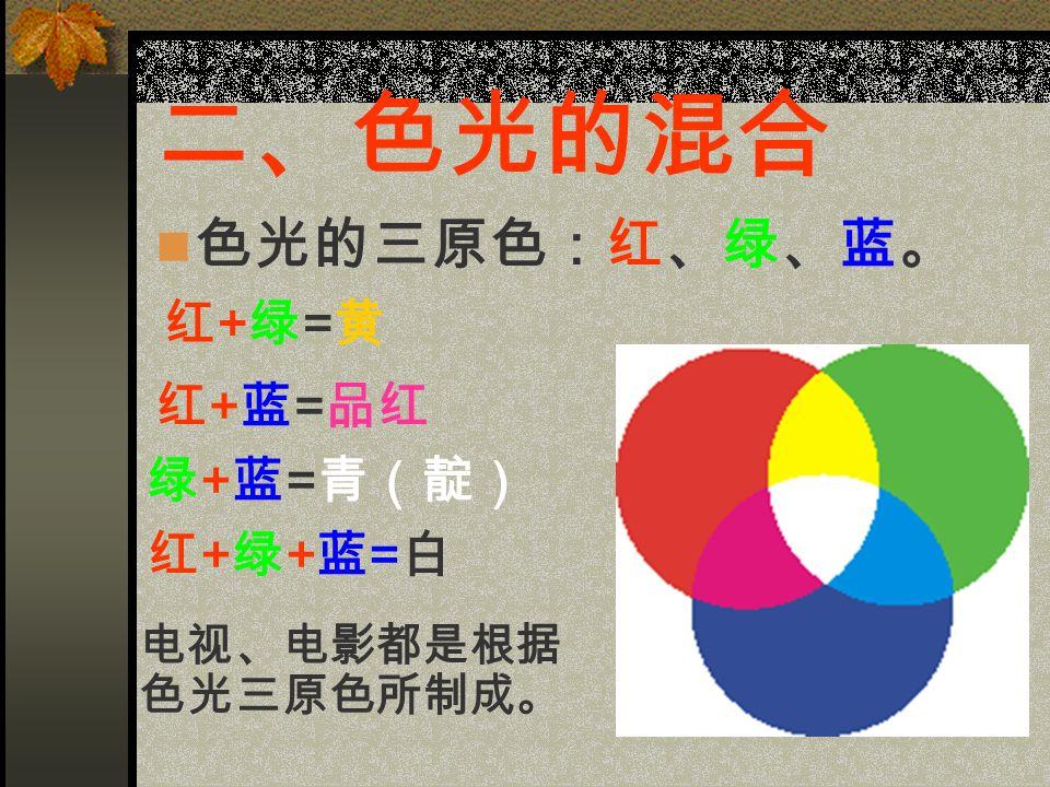 二、色光的混合 色光的三原色:红、绿、蓝。 电视、电影都是根据 色光三原色所制成。 红+绿=黄红+绿=黄 红 + 蓝 = 品红 绿 + 蓝 = 青(靛) 红+绿+蓝=白红+绿+蓝=白