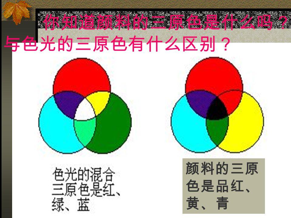 颜料的三原 色是品红、 黄、青 你知道颜料的三原色是什么吗? 与色光的三原色有什么区别?