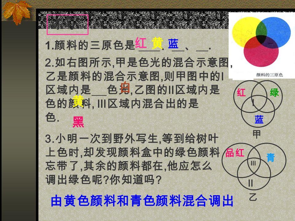 练习 : 1. 颜料的三原色是 、 、. 2.