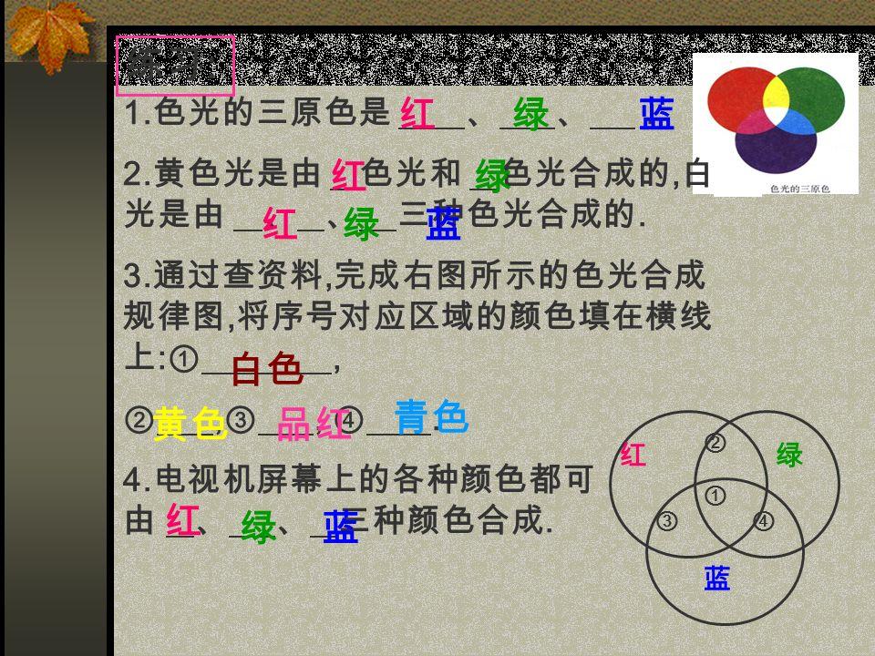 练习 : 1. 色光的三原色是 、 、. 2. 黄色光是由 色光和 色光合成的, 白 光是由 、 、 三种色光合成的.