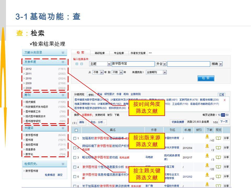 3-1 基础功能:查 查:检索 检索结果处理 按时间角度 筛选文献 按出版来源 筛选文献 按主题关键 筛选文献