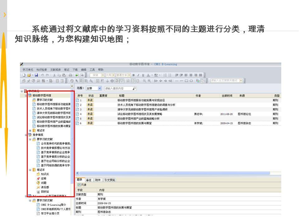 › 文献管理 系统通过将文献库中的学习资料按照不同的主题进行分类,理清 知识脉络,为您构建知识地图;