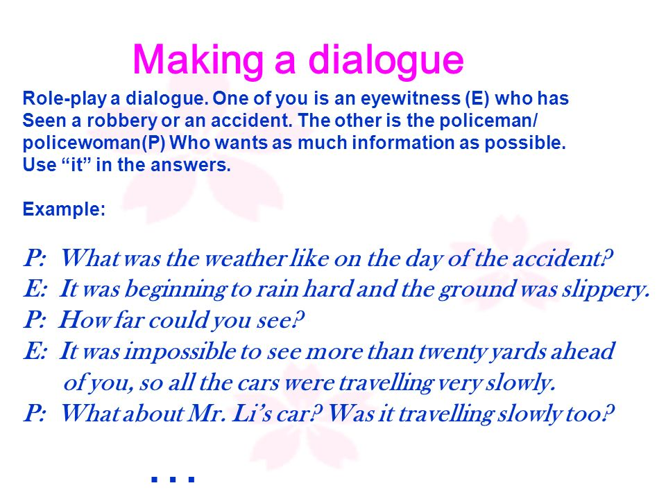 Making a dialogue Role-play a dialogue.