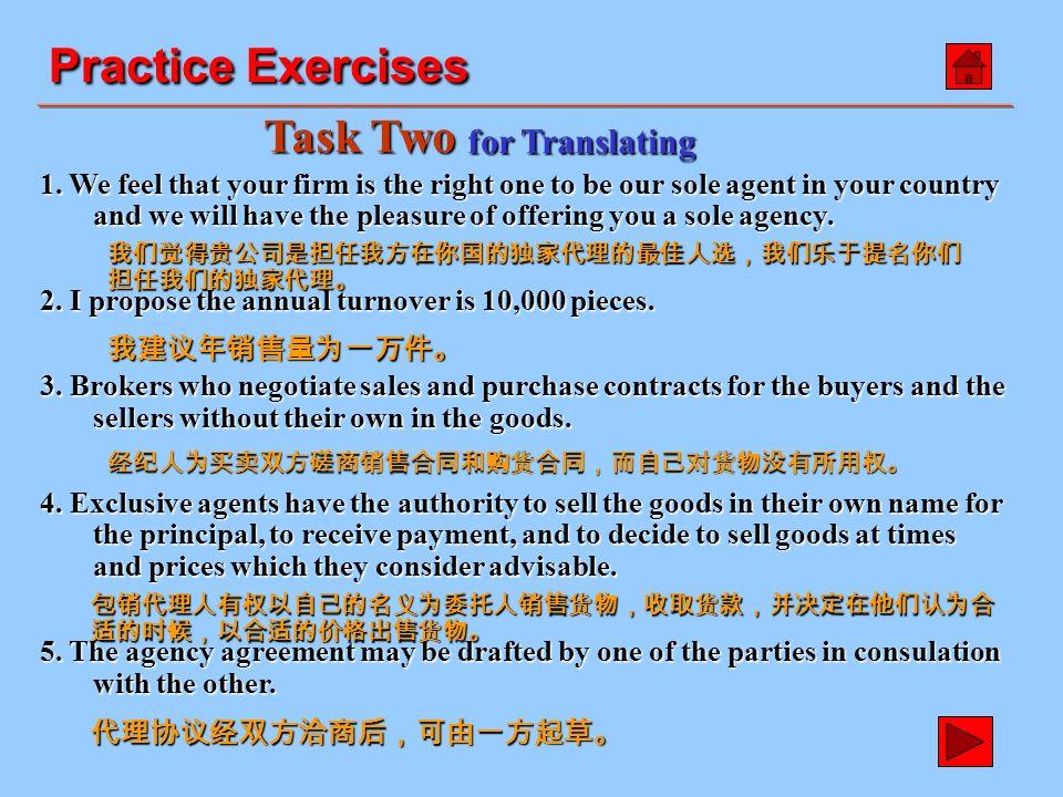 1. 在发展对外贸易中,代理商往往起着重要的作用。 2. 主要有两种代理商,佣金代理商和独家代理商。 3.