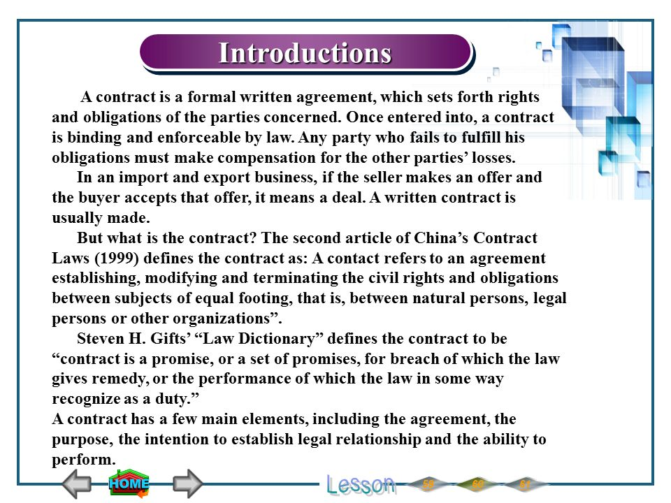 605961IntroductionsIntroductions A contract is a formal written agreement, which sets forth rights and obligations of the parties concerned.