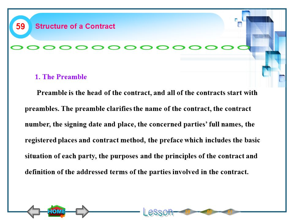 Structure of a Contract 1.