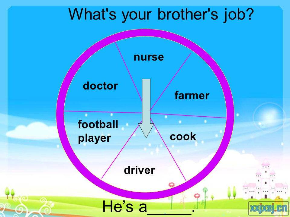 doctor football player nurse farmer cook driver What s your brother s job He's a_____.