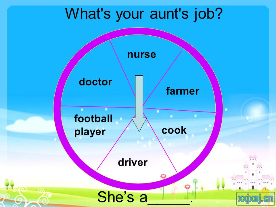 doctor football player nurse farmer cook driver What s your aunt s job She's a_____.