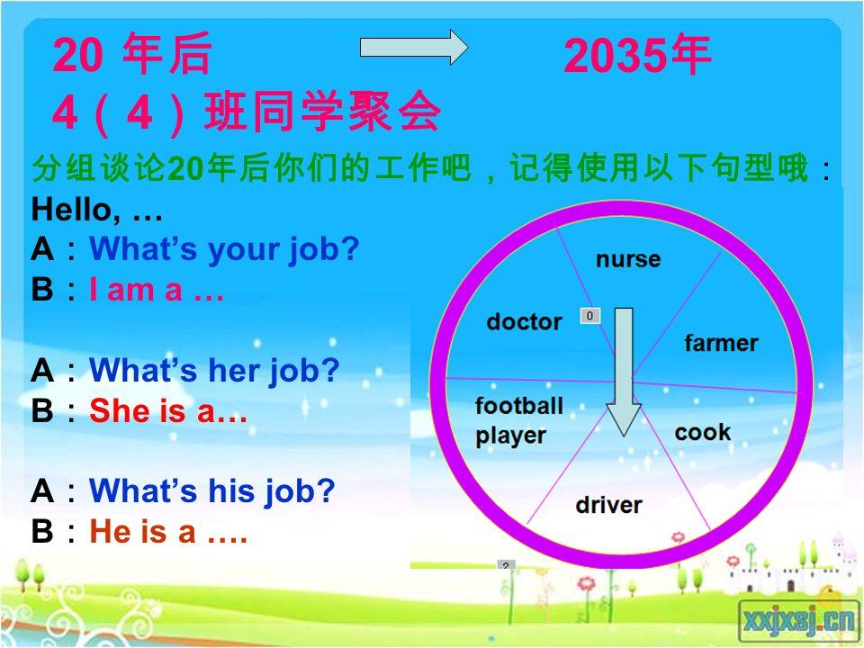 20 年后 4 ( 4 )班同学聚会 分组谈论 20 年后你们的工作吧,记得使用以下句型哦: Hello, … A : What's your job.
