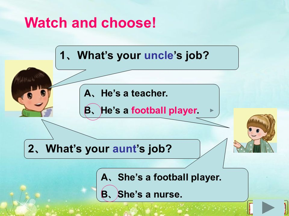Watch and choose. A 、 He's a teacher. B 、 He's a football player.
