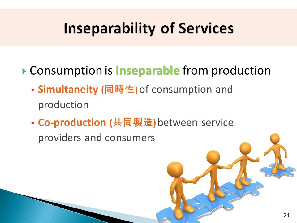 inseparable  Consumption is inseparable from production  Simultaneity ( 同時性 ) of consumption and production  Co-production ( 共同製造 ) between service providers and consumers 21