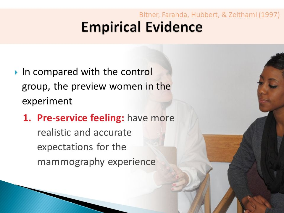 27  In compared with the control group, the preview women in the experiment 1.Pre-service feeling: have more realistic and accurate expectations for the mammography experience Bitner, Faranda, Hubbert, & Zeithaml (1997)
