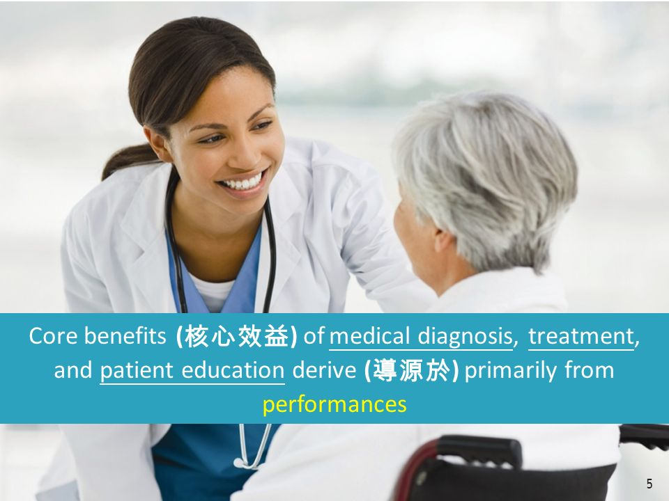 Core benefits ( 核心效益 ) of medical diagnosis, treatment, and patient education derive ( 導源於 ) primarily from performances 5