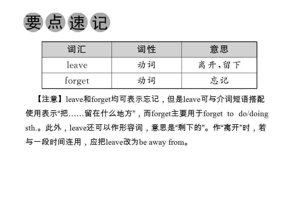 【注意】 leave 和 forget 均可表示忘记,但是 leave 可与介词短语搭配 使用表示 把 …… 留在什么地方 ,而 forget 主要用于 forget to do/doing sth.