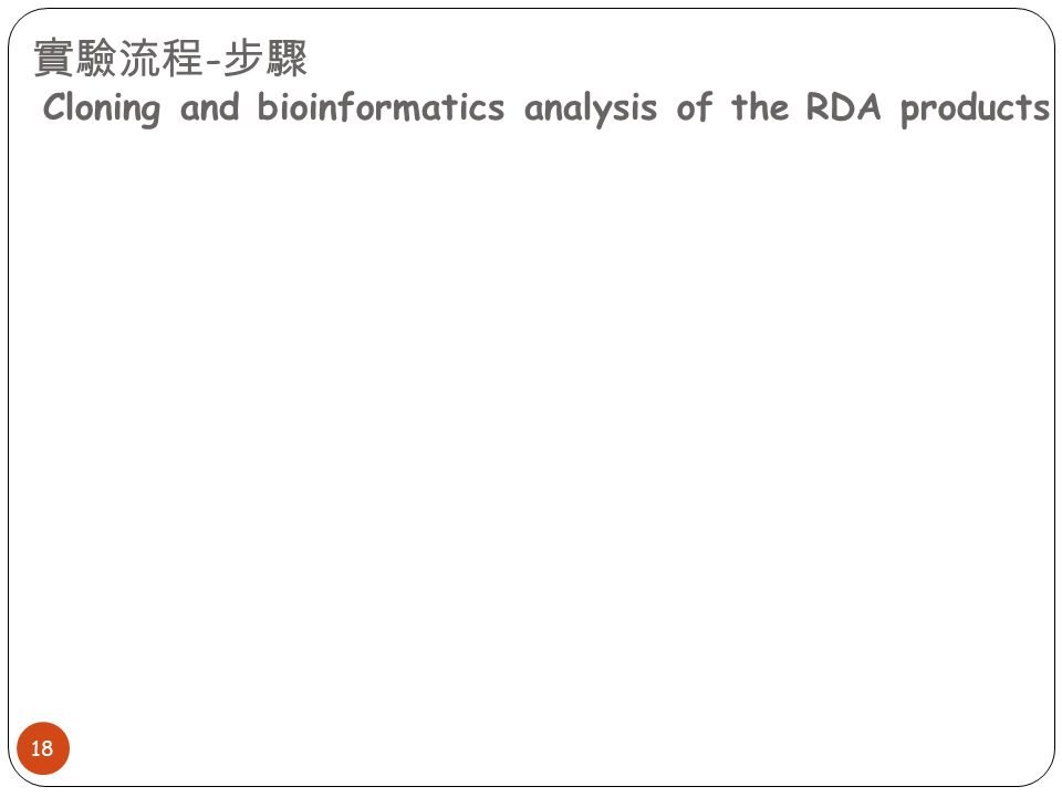 實驗流程 - 步驟 Cloning and bioinformatics analysis of the RDA products 18