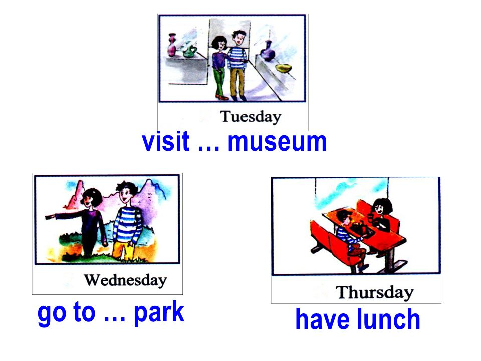 visit … museum go to … park have lunch