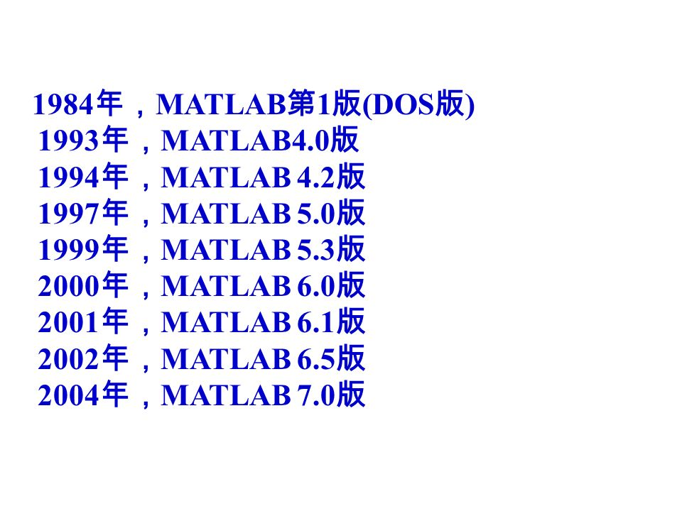 1984 年, MATLAB 第 1 版 (DOS 版 ) 1993 年, MATLAB4.0 版 1994 年, MATLAB 4.2 版 1997 年, MATLAB 5.0 版 1999 年, MATLAB 5.3 版 2000 年, MATLAB 6.0 版 2001 年, MATLAB 6.1 版 2002 年, MATLAB 6.5 版 2004 年, MATLAB 7.0 版