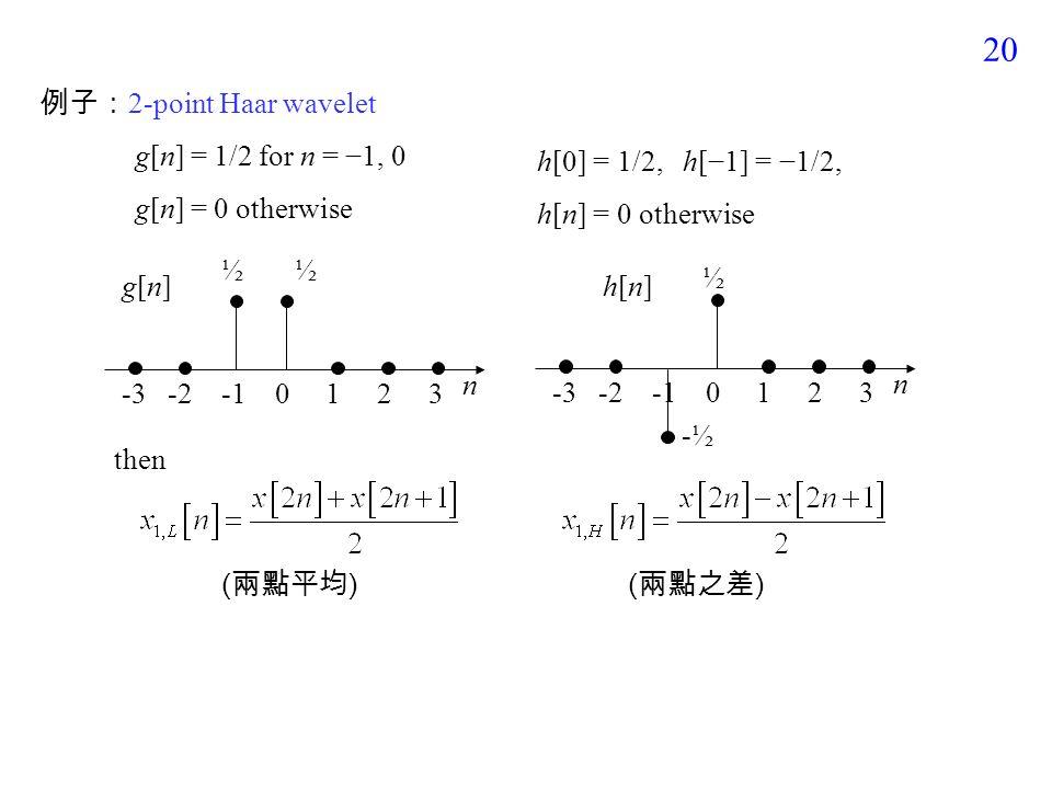 19 (3) Wavelet Transform x 1,L [n] x 1,H [n] g[n] x[n]x[n] h[n]  2 x[n] 的低頻成份 x[n] 的高頻成份 lowpass filter highpass filter down sampling xL[n]xL[n] xH[n]xH[n] N-points L-points