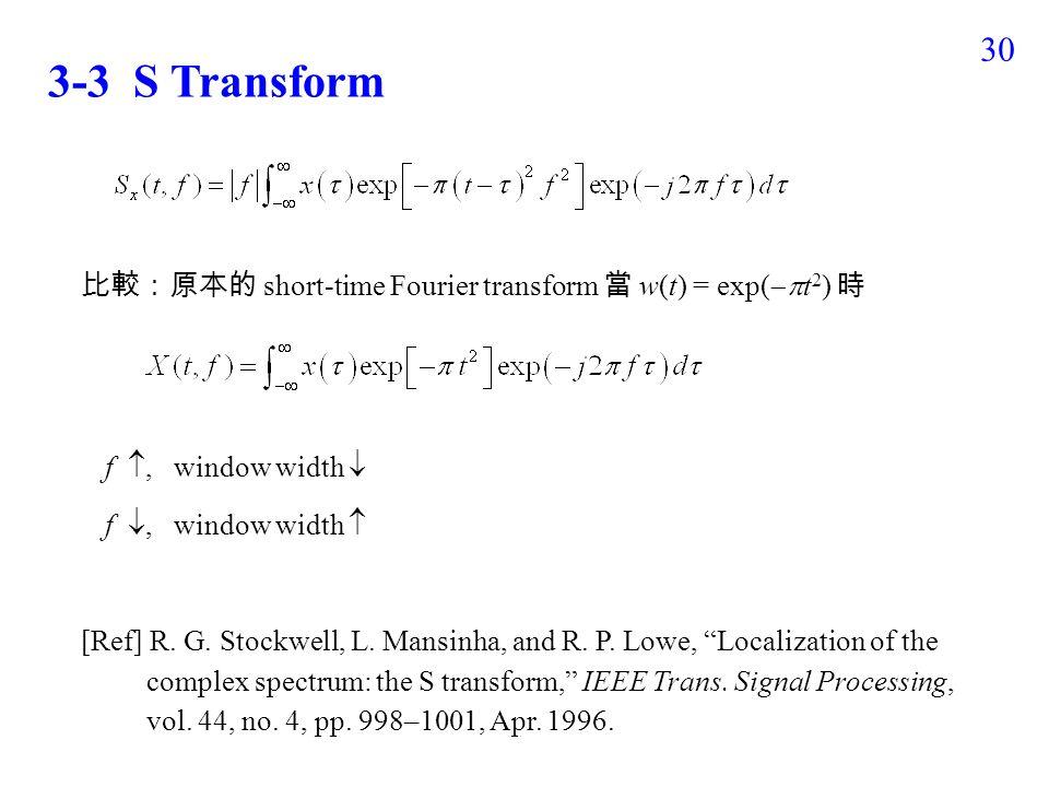 29 3-2 Asymmetric Short-Time Fourier Transform Short-Time Fourier Transform 通常 w(t) 是左右對稱的 但是在某些應用 ( 例如地震波的偵測 ) 使用非對稱的 window 會有較好的效果