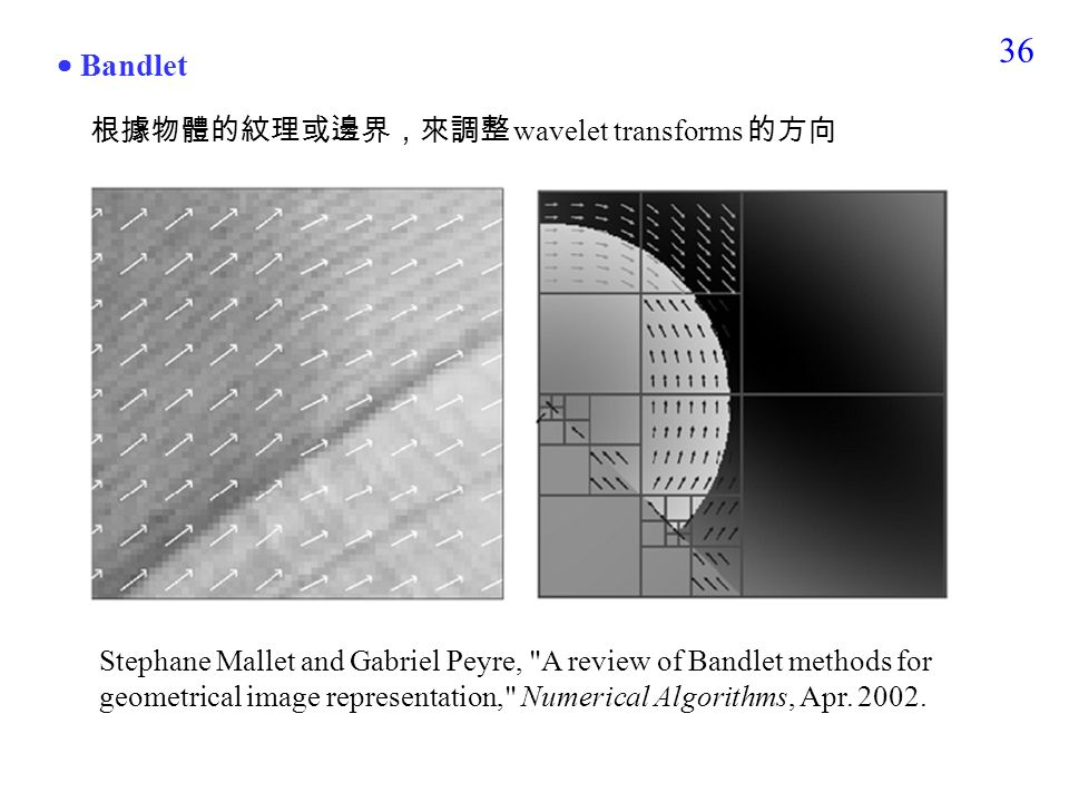 35 3-5 Directional Wavelet Transform Wavelet transform 未必要沿著 x, y 軸來做  curvelet  contourlet  bandlet  shearlet  Fresnelet  wedgelet  brushlet