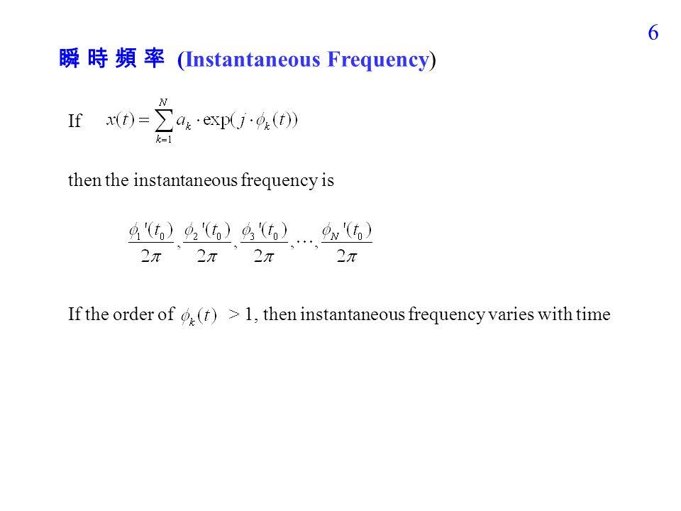 5 Example: x(t) = cos(440  t) when t < 0.5, x(t) = cos(660  t) when 0.5  t < 1, x(t) = cos(524  t) when t  1 用 Gray level 來表示 X(t, f) 的 amplitude t–axis (Second) f -axis (Hertz)