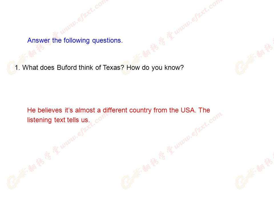 1. What does Buford think of Texas. How do you know.