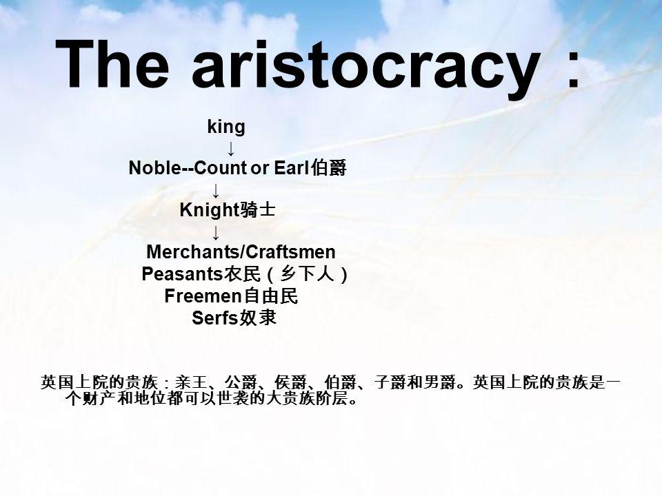 The aristocracy : king ↓ Noble--Count or Earl 伯爵 ↓ Knight 骑士 ↓ Merchants/Craftsmen Peasants 农民(乡下人) Freemen 自由民 Serfs 奴隶 英国上院的贵族:亲王、公爵、侯爵、伯爵、子爵和男爵。英国上院的贵族是一 个财产和地位都可以世袭的大贵族阶层。