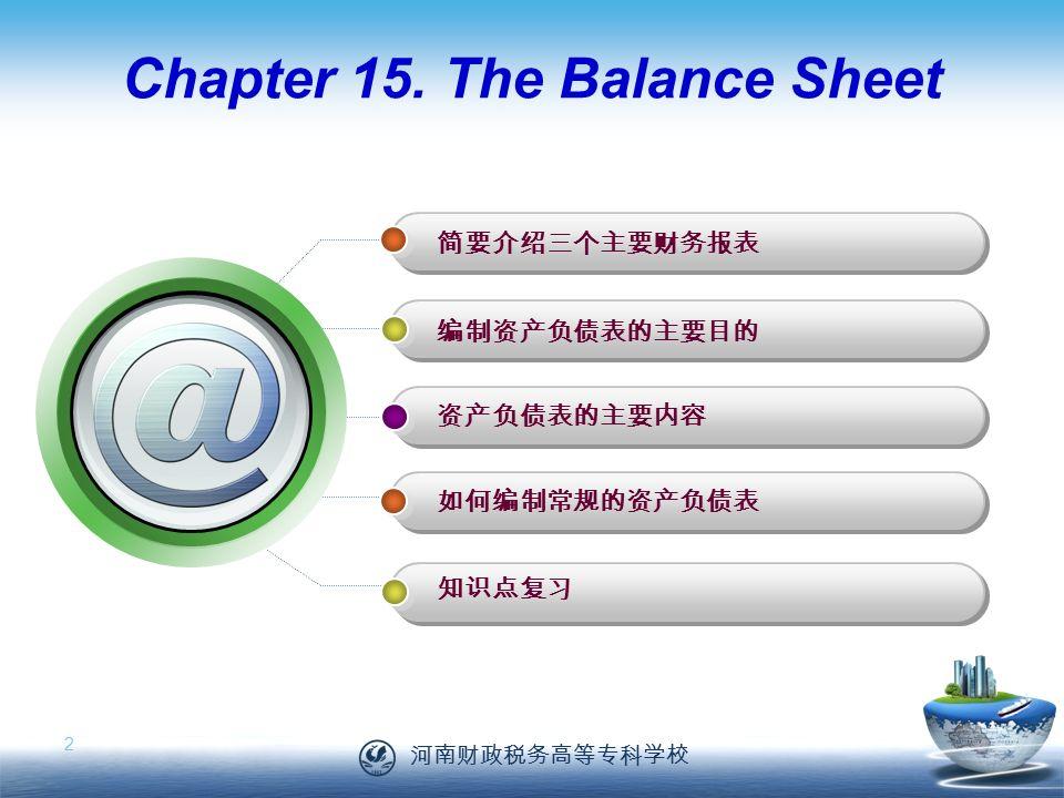 河南财政税务高等专科学校 2 Chapter 15.