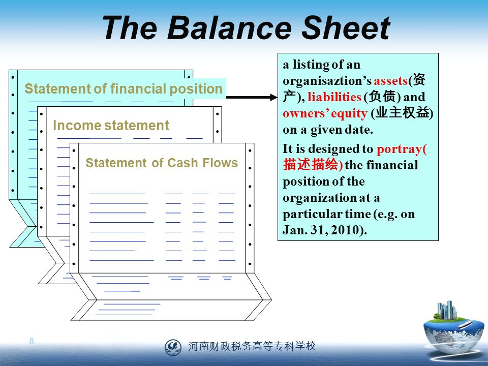 河南财政税务高等专科学校 8 The Balance Sheet a listing of an organisaztion's assets( 资 产 ), liabilities ( 负债 ) and owners' equity ( 业主权益 ) on a given date.