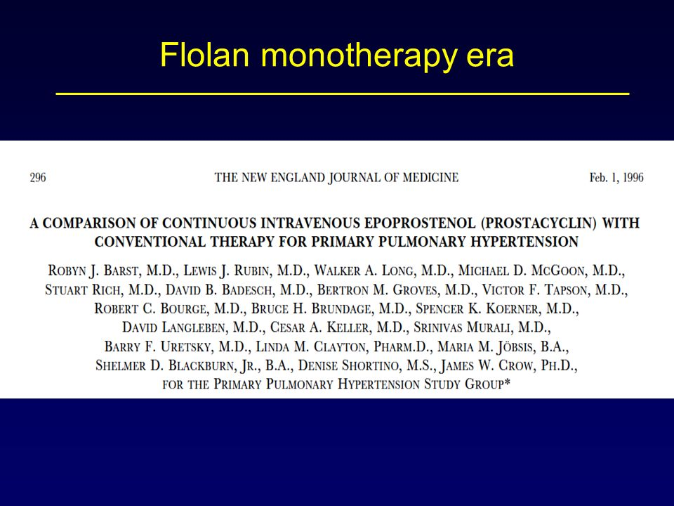 Flolan monotherapy era