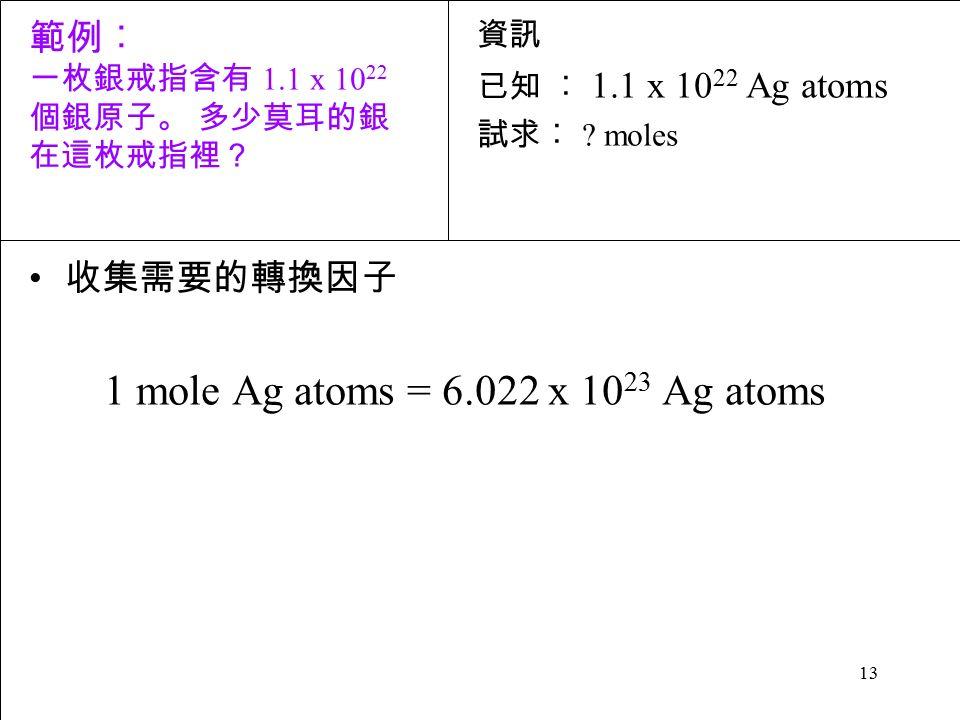 13 收集需要的轉換因子 1 mole Ag atoms = 6.022 x 10 23 Ag atoms 資訊 已知 ︰ 1.1 x 10 22 Ag atoms 試求︰ .