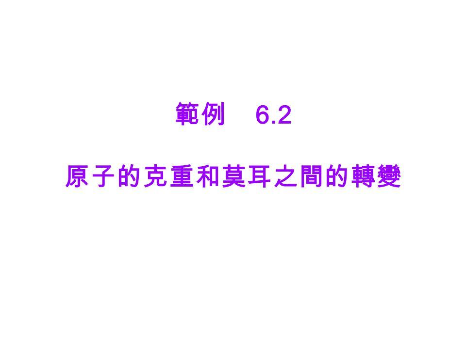範例 6.2 原子的克重和莫耳之間的轉變