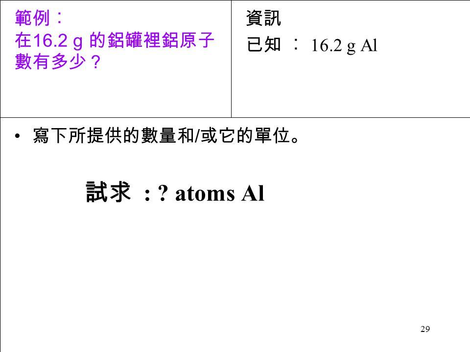 29 寫下所提供的數量和 / 或它的單位。 試求 : atoms Al 資訊 已知 ︰ 16.2 g Al 範例︰ 在 16.2 g 的鋁罐裡鋁原子 數有多少?