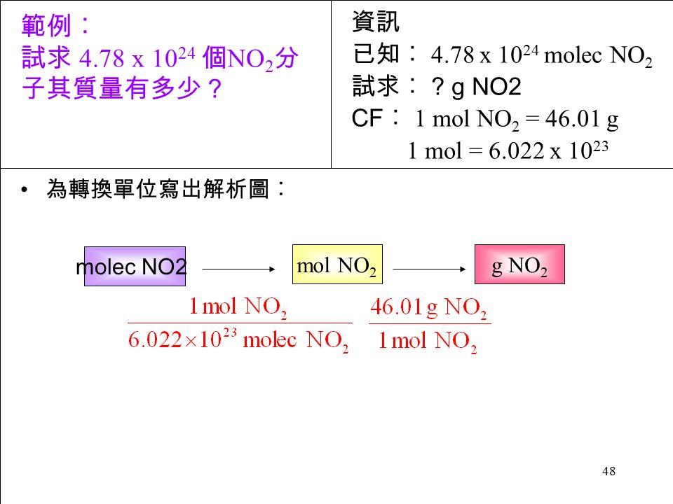 48 為轉換單位寫岀解析圖︰ molec NO2 資訊 已知︰ 4.78 x 10 24 molec NO 2 試求︰ .
