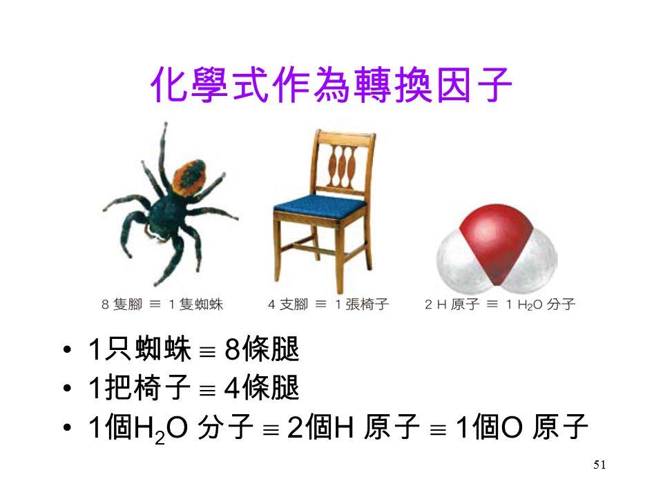51 化學式作為轉換因子 1 只蜘蛛  8 條腿 1 把椅子  4 條腿 1 個 H 2 O 分子  2 個 H 原子  1 個 O 原子 
