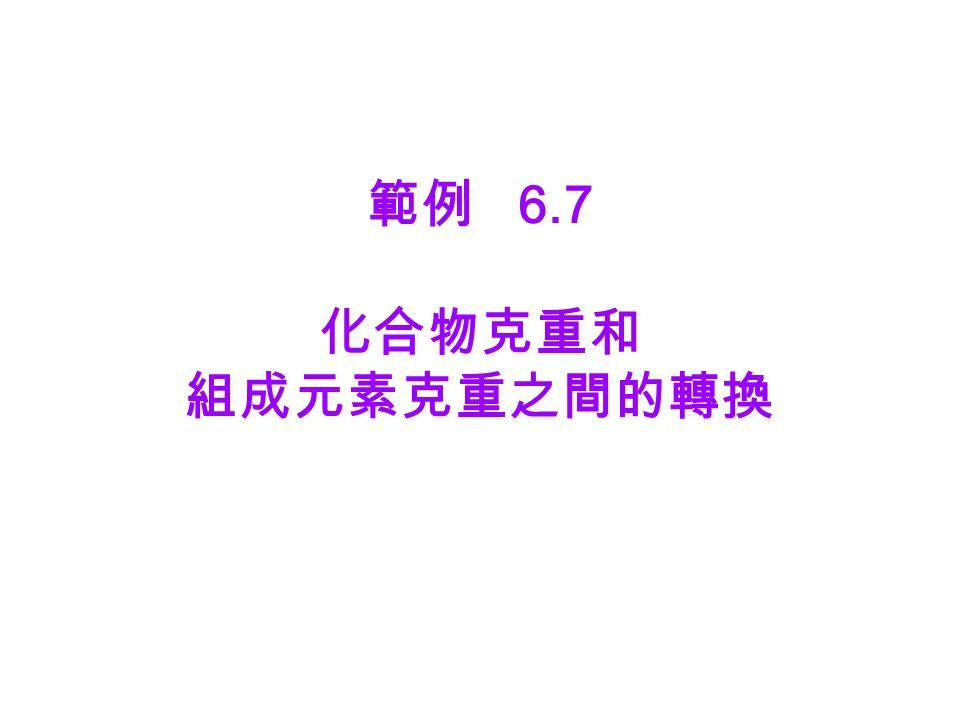 範例 6.7 化合物克重和 組成元素克重之間的轉換