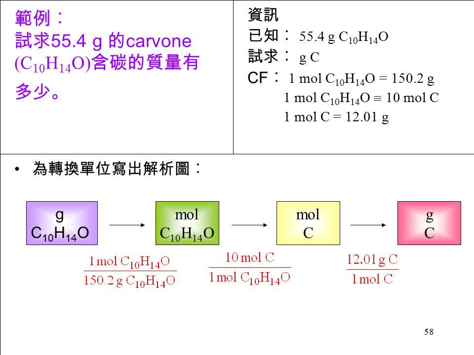 58 為轉換單位寫出解析圖︰ g C 10 H 14 O 資訊 已知︰ 55.4 g C 10 H 14 O 試求︰ g C CF ︰ 1 mol C 10 H 14 O = 150.2 g 1 mol C 10 H 14 O  10 mol C 1 mol C = 12.01 g 範例︰ 試求 55.4 g 的 carvone (C 10 H 14 O) 含碳的質量有 多少。 mol C 10 H 14 O mol C gCgC