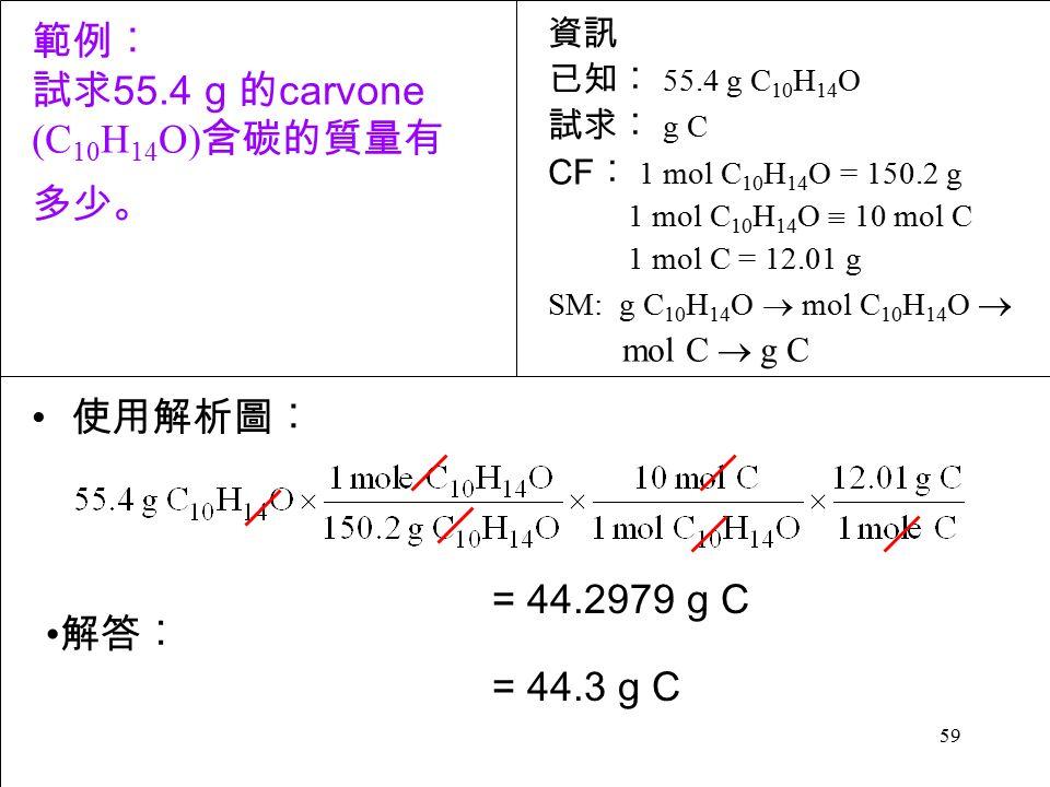 59 使用解析圖︰ = 44.2979 g C = 44.3 g C 解答︰ 資訊 已知︰ 55.4 g C 10 H 14 O 試求︰ g C CF ︰ 1 mol C 10 H 14 O = 150.2 g 1 mol C 10 H 14 O  10 mol C 1 mol C = 12.01 g SM: g C 10 H 14 O  mol C 10 H 14 O  mol C  g C 範例︰ 試求 55.4 g 的 carvone (C 10 H 14 O) 含碳的質量有 多少。