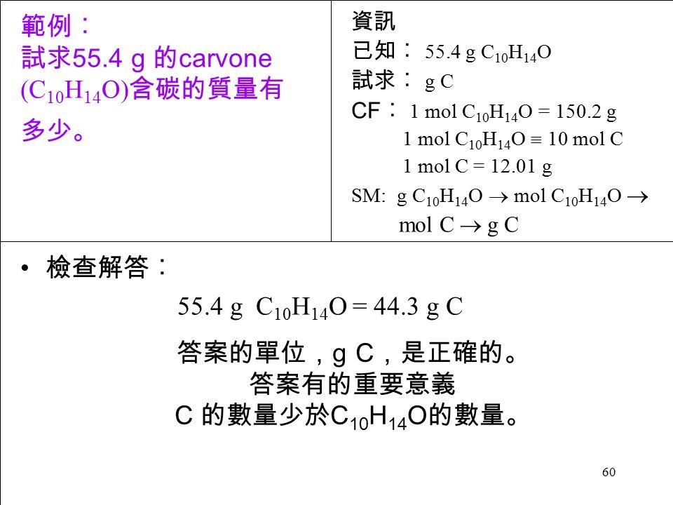 60 檢查解答︰ 55.4 g C 10 H 14 O = 44.3 g C 答案的單位, g C ,是正確的。 答案有的重要意義 C 的數量少於 C 10 H 14 O 的數量。 資訊 已知︰ 55.4 g C 10 H 14 O 試求︰ g C CF ︰ 1 mol C 10 H 14 O = 150.2 g 1 mol C 10 H 14 O  10 mol C 1 mol C = 12.01 g SM: g C 10 H 14 O  mol C 10 H 14 O  mol C  g C 範例︰ 試求 55.4 g 的 carvone (C 10 H 14 O) 含碳的質量有 多少。