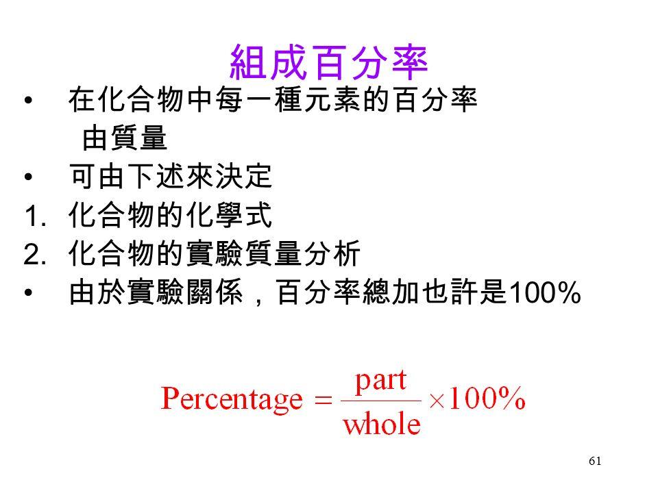 61 組成百分率 在化合物中每一種元素的百分率 由質量 可由下述來決定 1. 化合物的化學式 2. 化合物的實驗質量分析 由於實驗關係,百分率總加也許是 100%