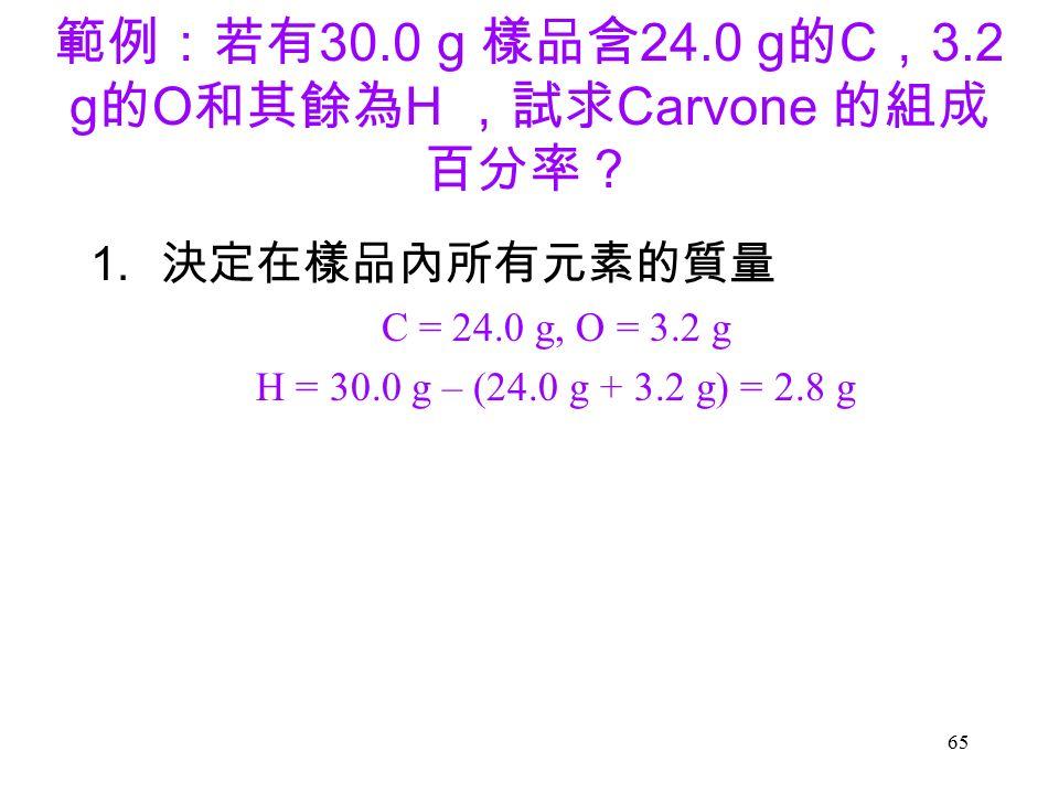 65 範例:若有 30.0 g 樣品含 24.0 g 的 C , 3.2 g 的 O 和其餘為 H ,試求 Carvone 的組成 百分率? 1.