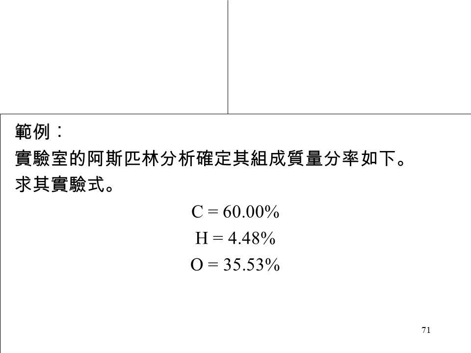 71 範例︰ 實驗室的阿斯匹林分析確定其組成質量分率如下。 求其實驗式。 C = 60.00% H = 4.48% O = 35.53%