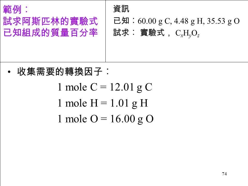 74 收集需要的轉換因子︰ 1 mole C = 12.01 g C 1 mole H = 1.01 g H 1 mole O = 16.00 g O 資訊 已知︰ 60.00 g C, 4.48 g H, 35.53 g O 試求︰ 實驗式, C x H y O z 範例︰ 試求阿斯匹林的實驗式 已知組成的質量百分率